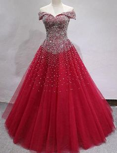 Off the Shoulder Red Tulle Long Prom Dresses with Beading Junior Prom Dresses, 15 Dresses, Modest Dresses, Elegant Dresses, Pretty Dresses, Bridal Dresses, Beautiful Dresses, Fashion Dresses, Girls Dresses