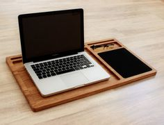 Portable laptop desk Oak wood lap tray with tablet & phone slots Fathers day gift Wooden mobile workstation Macbook stand Student lapdesk Diy Laptop Stand, Wooden Laptop Stand, Laptop Desk For Bed, Portable Laptop Desk, Laptop Tray, Laptop Table, Solid Surface, Iphone, Laptop Screen Repair