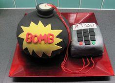 bomb cake Spy Kids Party, Spy Birthday Parties, 21st Birthday Cakes, Birthday Ideas, Spy Cake, Scavenger Hunt Party, Bomb Cake, Mouse Parties, Kid Parties