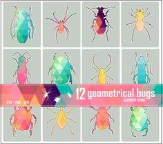 12 insectes geometriques polygones clipart par AGOHPATTERNS sur Etsy