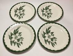 Woodbury By Royal Bread & Butter Plate Floral Magnolia Green Edge Swirl Rim 4 Pc #RoyalChina