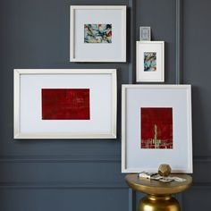 Gallery Frames - White | west elm White frames for 3 colored drawings from bizarre
