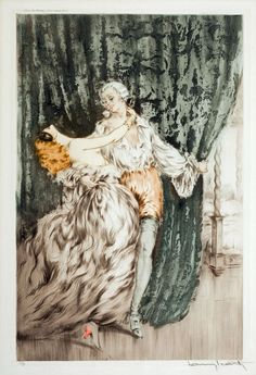 Louis Icart (1888- 1950), Casanova ( Masquerade ) « Il n'y a pas de femme au monde qui puisse résister aux soins assidus et à toutes les attentions  d'un homme qui veut la rendre amoureuse.  »  Giacomo Casanova