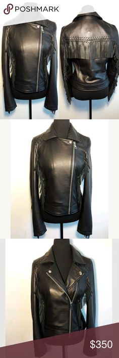 Amaryllis Black Leather Fringe Motorcycle Jacket NWT Amaryllis Black Leather Fringe Jacket Women's Medium Motorcycle Butter Soft  Thank you for Looking & Sharing Happy Poshing Amaryllis Jackets & Coats