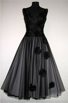 Vanity Fair  Incredible 1940s vintage style dress. Soft satin top, ruched body and full tulle layered skirt.