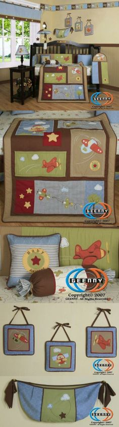 Boutique Airplane Aviator Boy 13PCS CRIB BEDDING SET New Born, Baby, Child, Kid, Infant, Product Description This listing is for a 13 pcs beautiful GEENNY brand new Crib set with all the bundle you will need. This set is made to fit all standard cribs and toddler beds. The whole set comes..., #Baby, #Accessories