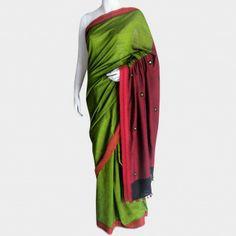 Green & maroon handwoven cotton sari with mirrorwork on the pallu. By Meenakari http://www.tadpolestore.com/meenakari #India #Indian #designer #saree #sari #handwoven #cotton #women'swear #meenakari #mirrorwork