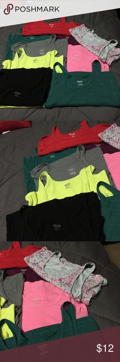 Bundle of Mossimo long and lean tanks! 9 total Red, 2 teal, purple, gray, hot pink, bright yellow, black, and real with pink and gray stars. All with much more life. These fit true to size. Mossimo Supply Co Tops Tank Tops