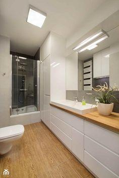 Spr prawa str dół.. Best Bathroom Designs, Bathroom Design Luxury, Modern Bathroom Design, Bathroom With Shower And Bath, Beige Bathroom, Dyi Bathroom Remodel, Attic Bedroom Designs, Narrow Bathroom, Beautiful Bathrooms