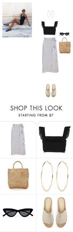 """on holidays"" by danamaybe ❤ liked on Polyvore featuring River Island, Hat Attack, Le Specs and Mint Velvet"