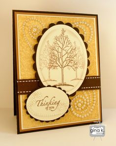 """Thinking of You"" card made with ""The Northwoods"" stamp set by Theresa Momber for Gina K. Designs."