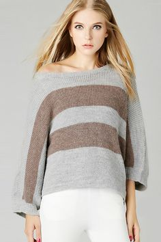 Charming Stripe Batwing Sleeve Pullover Sweater#Sweaters#Women Sweaters#Fashion Sweaters#Women Fashion# Autumn Fashion Sweaters#Must-have  Sweaters # Autumn Fashion Trends#OASAP