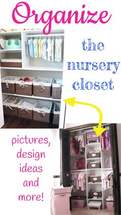 Baby closet organizing tips! Nursery closet organization ideas for boy baby closets and girl babies… gender-neutral ideas, creative use of space in small nursery closets, and some before and after nursery make over ideas and plain ol' brilliant nursery closet hacks that I sure wish *I* had thought of!