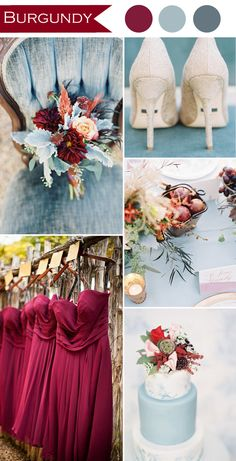 burgundy and dusty blue rustic wedding color ideas