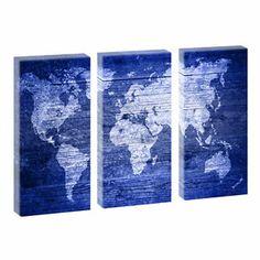 Weltkarte blue- Kunstdruck auf Leinwand - dreiteilig -je 40cm*80cm