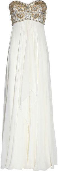 MARCHESA <3 White Beaded Silk-chiffon Gown •• beach wedding ?