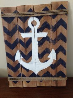 Chevron anchor pallet sign by LiveLaughLisa on Etsy