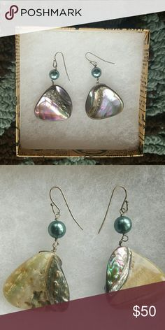 New Beautiful Abalone Shell Hand Made Earrings Beautiful Abalone shells pick up iridescent colors as they dangle making them match every color!  They are hand made from real abalone shells  TRY MAKING ME AN OFFER!  PLEASE CHECK OUT MY OTHER LISTINGS! Jewelry Earrings