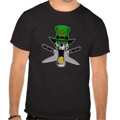 Irish Chef T-shirt Saint Patrick's day Irish chef skull with shamrock eyes, leprechaun top hat with big red kiss me lips. Mouth full of gold coins and crossed chef knives in back.