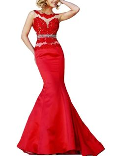 SDRESS Women's Illusion Crewneck Appliques Long Mermaid Satin Formal Evening Dress Red Size 26. Soft lace fabric; Dry clean only. Neckline & Sleeve : Jewel neck without sleeve. Occasion: wedding, prom, evening party, Engagement , other special occasions etc. Plunge V-back with zipper closure, mermaid sweep train style. Made-to-order product, you can receive it in 2 weeks if u choose expedited shipping.