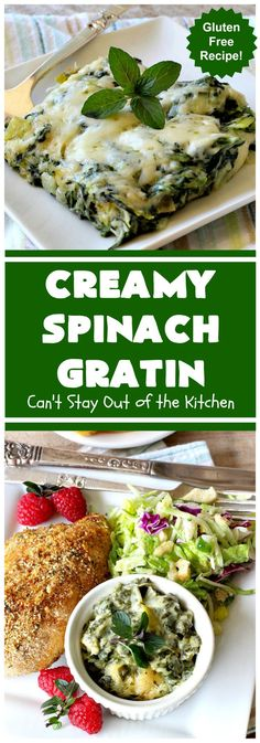 Creamy Spinach Gratin – Can't Stay Out of the Kitchen Spinach Gratin, Spinach Casserole, Vegetable Casserole, Spinach Recipes, Veggie Recipes, Veggie Dishes, Healthy Food Options, Healthy Recipes, Spinach Rolls