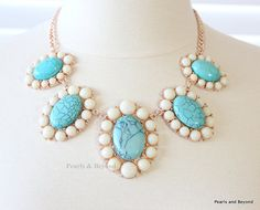 Clearence Oasis Cabochon Bib Necklace Flower Statement Necklace on Etsy, $6.99