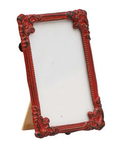 Bulk Wholesale Handmade Red Rectangular Photo Frame / Stand in Metal Work with Distressed-Look – Beautiful Carvings on the Edges – Table / Wall Décor – Rustic-Look Home / Office Décor