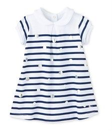 Baby girl sailor-striped dress with dots