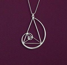 Golden triangle in Fibonacci spiral silver - Delftia science jewelry Cat Jewelry, Wire Jewelry, Silver Jewelry, Jewelry Accessories, Jewelry Design, Silver Earrings, Bohemian Accessories, Gold Jewellery, Jewelry Ideas
