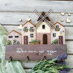 Wooden House Decoration, Home Crafts, Diy And Crafts, Painting On Wood, House Painting, Wood Block Crafts, Pottery Houses, Coin Couture, Small Wood Projects