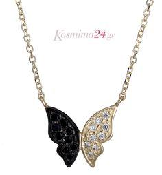 Χρυσό κολιέ με σχέδιο πεταλούδας από χρυσό 14 Κ σε διχρωμία! Diamond, Silver, Jewelry, Jewlery, Jewerly, Schmuck, Diamonds, Jewels, Jewelery