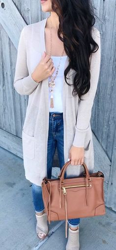 #fall #outfits Grey Cardigan / White Top / Skinny Jeans