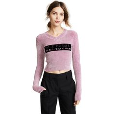 Alexander Wang Vinyl Meltdown Sweater ($600) ❤ liked on Polyvore featuring tops, sweaters, mauve, v-neck tops, long sleeve v neck sweater, mauve sweater, letter sweater and vinyl top