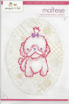 MALTESE by Penguin & Fishembroidery transfer by FancifulFabrics, $7.00
