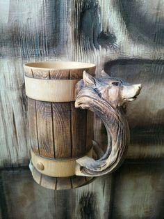 Wooden #Tankard Beer Stein Mug Fox Carved Souvenir Cedar Gift
