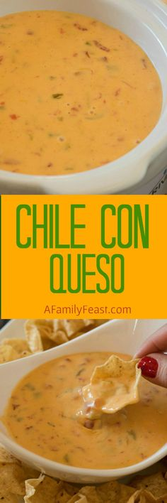 con Queso Chile con Queso - Creamy, cheesy and zesty! This easy dip is addictively good!Chile con Queso - Creamy, cheesy and zesty! This easy dip is addictively good! Crock Pot Dips, Crockpot Dishes, Crockpot Queso Dip, Crock Pots, Appetizer Dips, Best Appetizers, Appetizer Recipes, Party Appetizers, Mexican Dishes