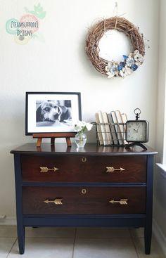 Dresser restoration in General Finishes Coastal Blue and Java Gel.