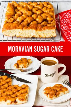 Dewey's Moravian Sugar Cake is made from yeast-raised dough that's topped with a combination of cinnamon, pure butter and brown sugar, then baked until golden brown.