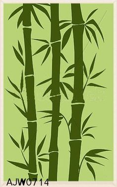 Home Design Ideas Bamboo Planter, Bamboo Art, Room Paint Designs, Modern Room Decor, Tree Stencil, Wall Stencil Patterns, Bamboo Tattoo, Art Painting Gallery, Plant Drawing