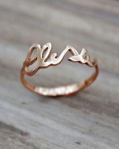 Rose Goldplated Sterling Silver, Valentines custom handwritten sterling silver ring, midi ring