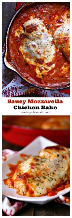 Saucy Mozzarella Chicken Bake from cravingsofalunatic.com. This saucy mozzarella chicken bake is super easy to make. It's a hearty one pan chicken recipe that's packed with flavor without any fuss. Whip this up for dinner tonight! #sponsored #chicken #dinner