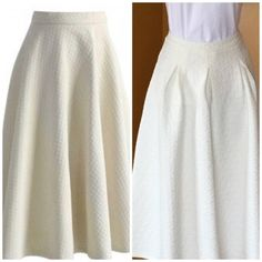 "|HP| EGGSHELL QUILTED FULL SKIRT Lovely!! Eggshell color with great detail in the material. A very versatile color. Pairs great with a tank or completely dress it up. 100% polyester. Waist 13"". 27"" long. -No trades. Skirts A-Line or Full"