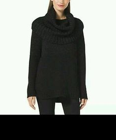 59be00d904b MICHAEL KORS COWLNECK PONCHO SWEATER BLACK REMOVABLE COLLAR LARGE MSRP   175. 00 Knitted Poncho