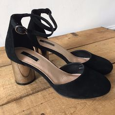 89adc8f9b4f0 Uk size 4 womens topshop black suede look ankle strap silver round heeled  shoes