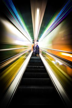 Colorful outdoor escalators in Hong Kong. Adjusting the shutter speed on the camera will give you this effect. Blur Photography, Abstract Photography, Creative Photography, Street Photography, Landscape Photography, Travel Photography, Foto Art, Abstract Images, My Favorite Image