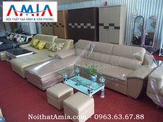 Bộ sản phẩm ghế sofa phòng khách nhỏ với chất liệu da hiện đại đẹp mê ly trong phòng khách gia đình
