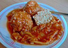 Paradicsomos káposzta gerslis húsgombóccal Hungarian Recipes, Curry, Ethnic Recipes, Food, Curries, Essen, Meals, Yemek, Eten