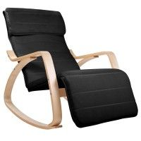 Birch Plywood Adjustable Rocking Recliner Lounge Arm Chair with Fabric Cushion Black Bentwood Rocker, Wooden Rocking Chairs, Mobile Price, Dining Arm Chair, Sit Back And Relax, Cushion Fabric, Occasional Chairs, Foot Rest, Recliner