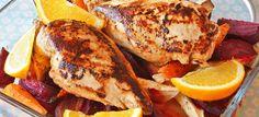 Kyllingfilet med appelsin og ovnsbakte rotgrønnsaker