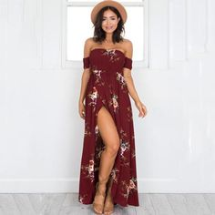 6dfe1f987ab 2018 Boho Style Long Dress Women Off Shoulder Summer Beach Dresses Floral  Print Vintage Chiffon Maxi Dress Size S-2XL 4 Colors